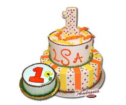 Fondant Stripes & Polka Dots 1st Birthday Cake