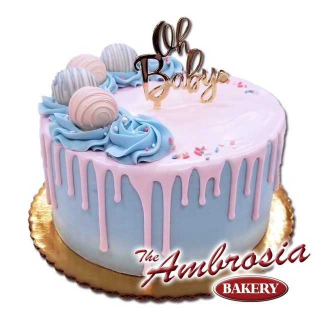 """""""Oh Baby"""" Reveal Cake with Pink and Blue Cake Balls!"""