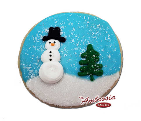 Snowman on a round Cutout Cookie