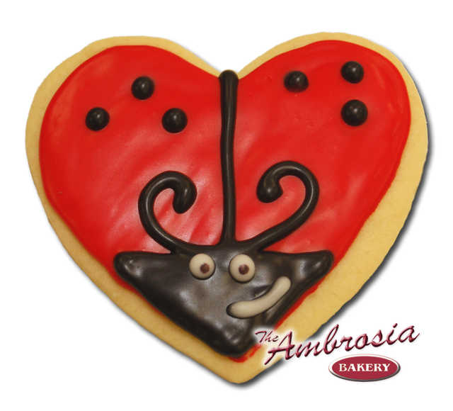 Decorated Love Bug Cut-Out Cookie