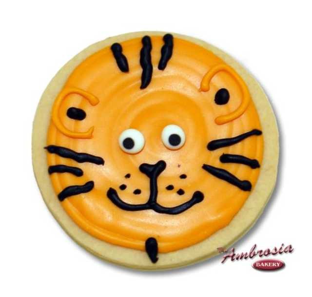 Decorated Tiger Face Cut-Out Cookie