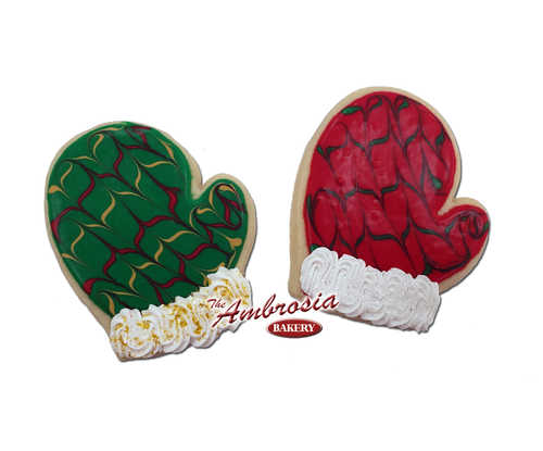 Decorated Santa Mitten Cut-Out Cookie