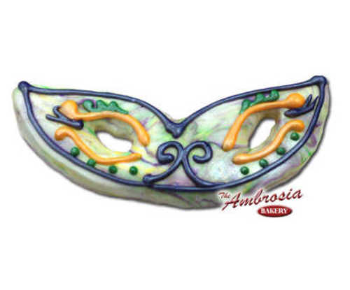 Decorated Mardi Gras Mask Marbled Cut-Out Cookie #2