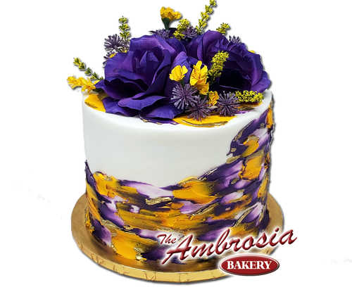 Golden Tiger Triple Layer Cake with Floral Topper!