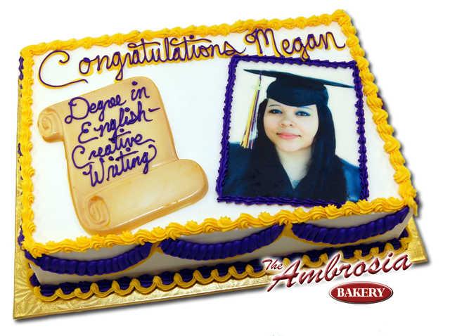 Graduation Single Layer Custom Photo Cake