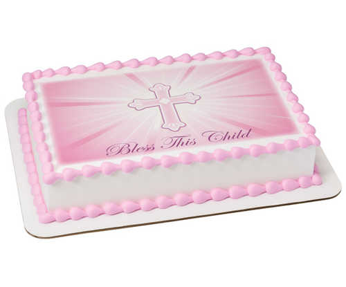 Bless This Child-Pink PhotoCake® Image