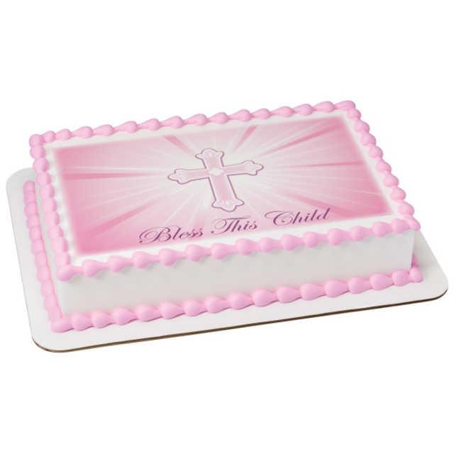 Bless This Child-Pink PhotoCake® Image