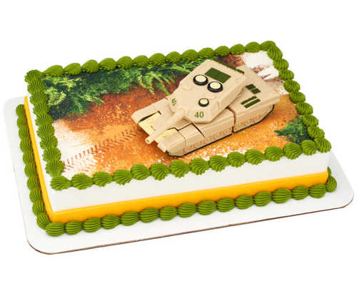 Military Robot Tank DecoSet® with Edible Image Background
