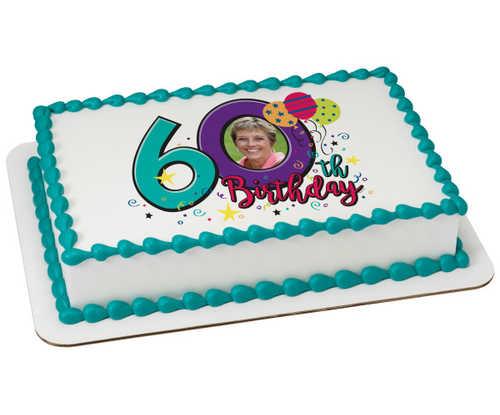 Happy 60th Birthday PhotoCake® Edible Image® Frame
