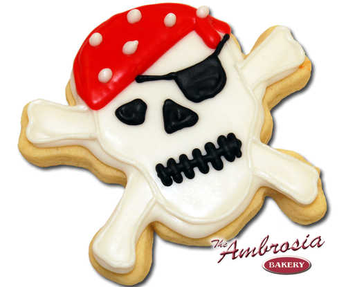 Decorated Pirate Skull Cut-Out Cookie