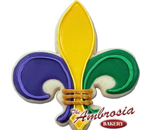 "Decorated Fleur de Lis ""Mardi Gras"" Cut-Out-Cookie"