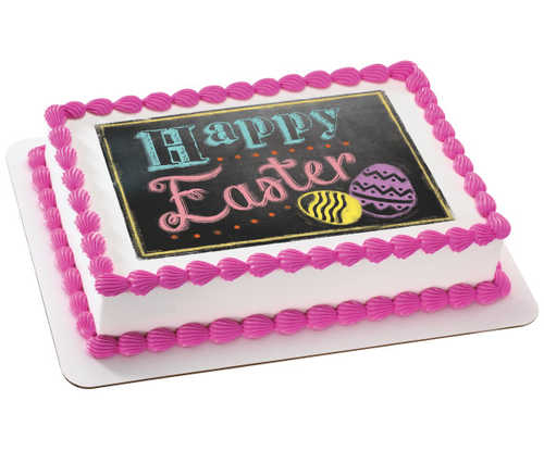 Happy Easter Bright Chalkboard PhotoCake® Edible Image®