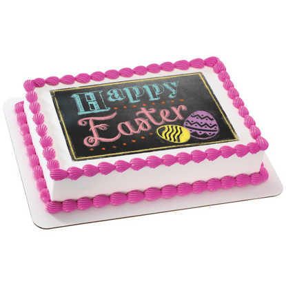Happy Easter Bright Chalkboard PhotoCake® Edible Image®