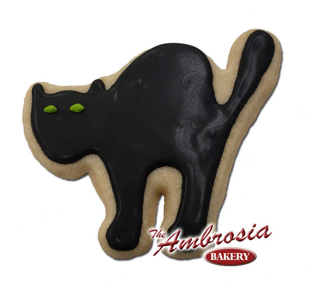 Decorated Black Cat Decorated Cut-Out Cookie