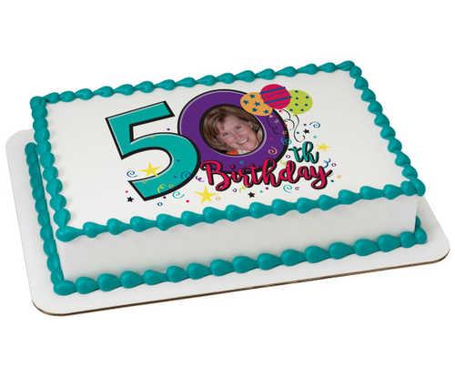 Happy 50th Birthday PhotoCake® Edible Image® Frame
