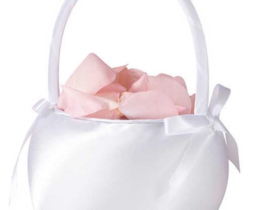 Flower Basket - White Satin