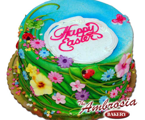 Spring Flowers Happy Easter Cake