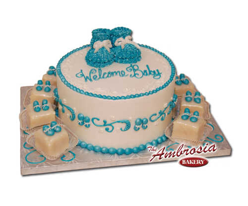 Welcome Baby Booties with Petit Fours
