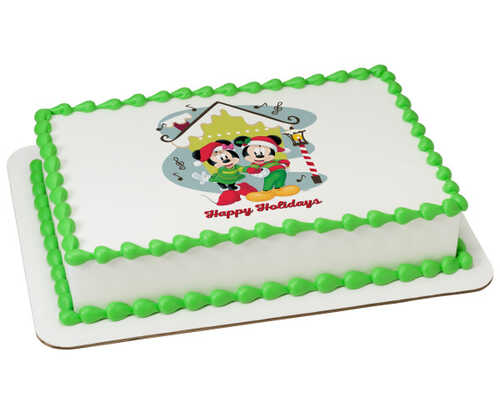 Disney - Mickey Mouse and Minnie Mouse Happy Holidays PhotoCake® Edible Image®