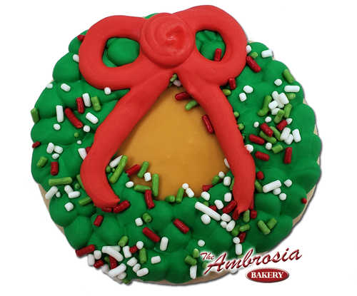 Decorated Christmas Wreath Cutout Cookie