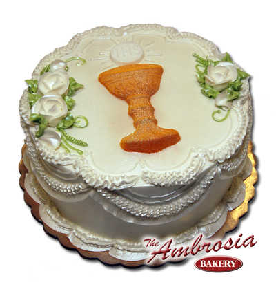 1st Communion Cake with Sugared Chalice